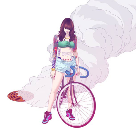 Pin-Ups-and-Bicycles-illustrations-by-Halfanese-9
